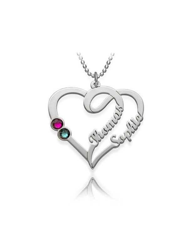 overlapping heart name necklace platinum plated silver