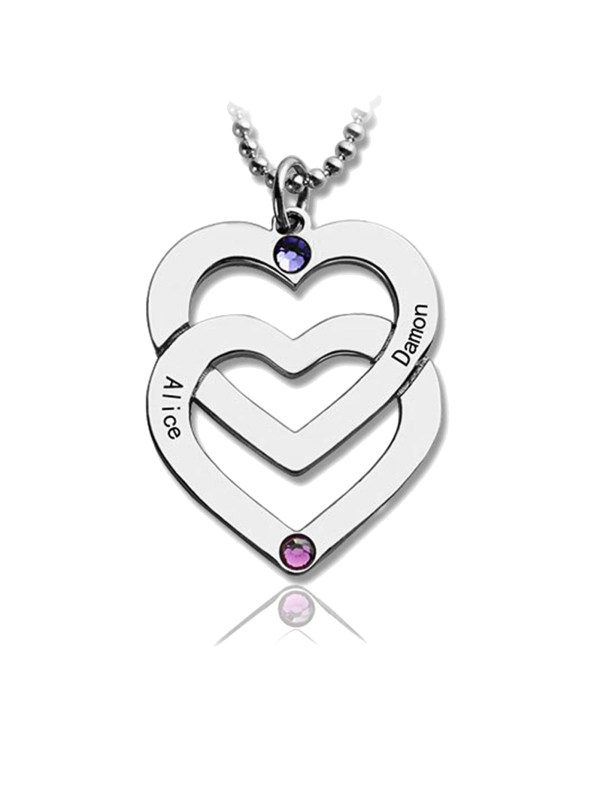 personalized two heart name necklace silver
