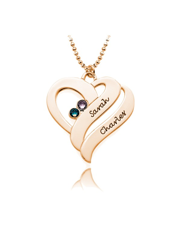 heart name necklace rose gold plated silver