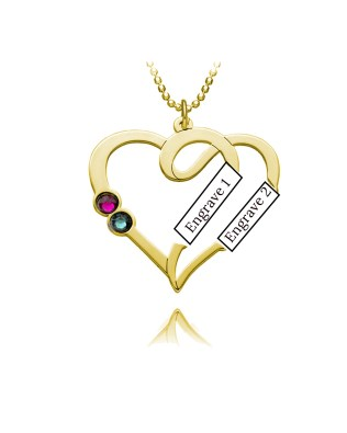 Overlapping Heart Necklace with Birthstone Silver S925 Platinum Plated