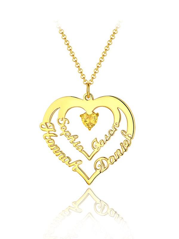 heart name necklace engrave 4 name