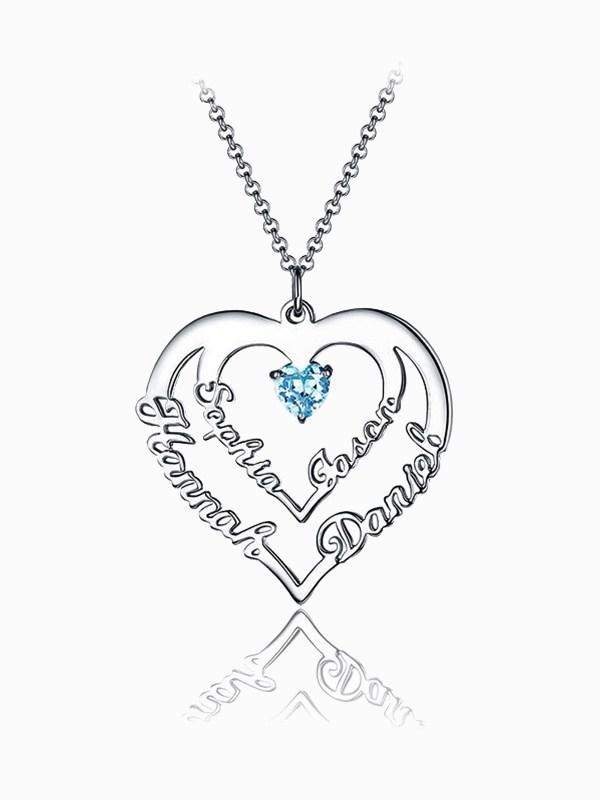 heart name necklace engrave 4 name silver