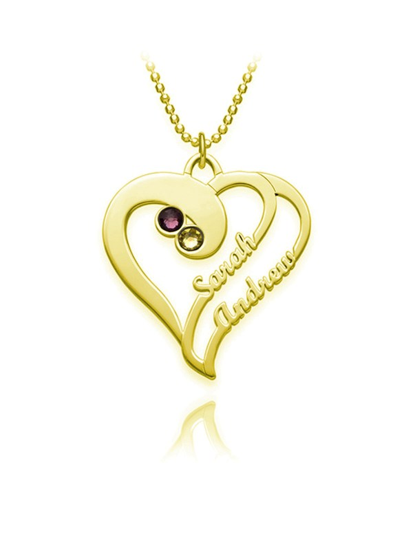 overlapping heart name necklace 18k gold silver