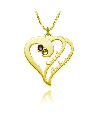 Overlapping Heart Necklace Silver S925 18K Gold Plated