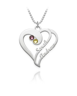 Overlapping Heart Necklace 2 with Birthstones Silver S925