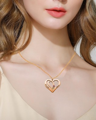 Overlapping Heart Necklace with Birthstone Silver S925 Rose Gold Plated