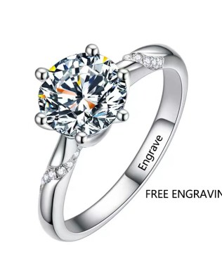 1 Carat 6 Prongs Moissanite Promise Ring Platinum Plated Silver