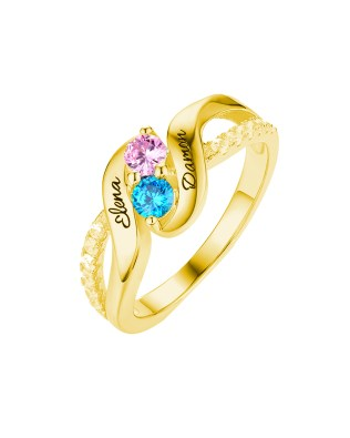 Birthstone Ring 18k Gold Plated