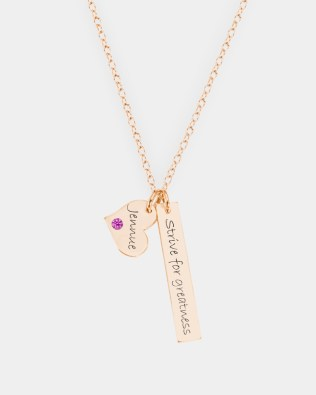 Bar Name Necklace with Birthstone Silver Rose Gold Plated