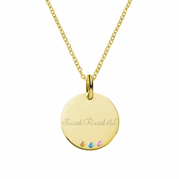 disc name necklace with birthstones 18k gold plated in silver
