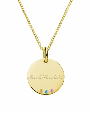 Disc Name Necklace with Birthstones Silver 18k Gold Plated