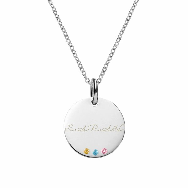 disc name necklace platinum plated in silver with birthstones