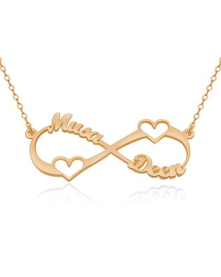 Heart Infinity Name Necklace Rose Gold Plated Silver