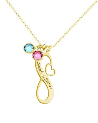 Infinity Name Necklace with Birthstones 18k Gold Plated Silver