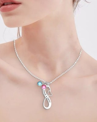 Infinity Name Necklace with Birthstone Platinum Plated Silver