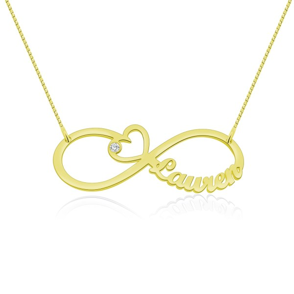 heart infinity name necklace with birthstone gold plated