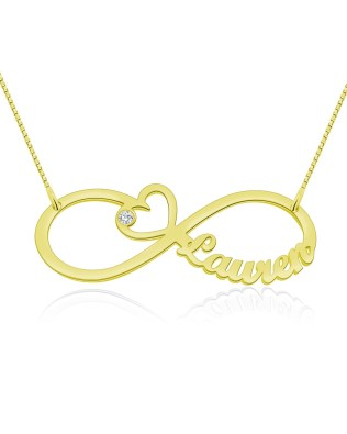 Heart Infinity Single Name Necklace Gold Plated Silver