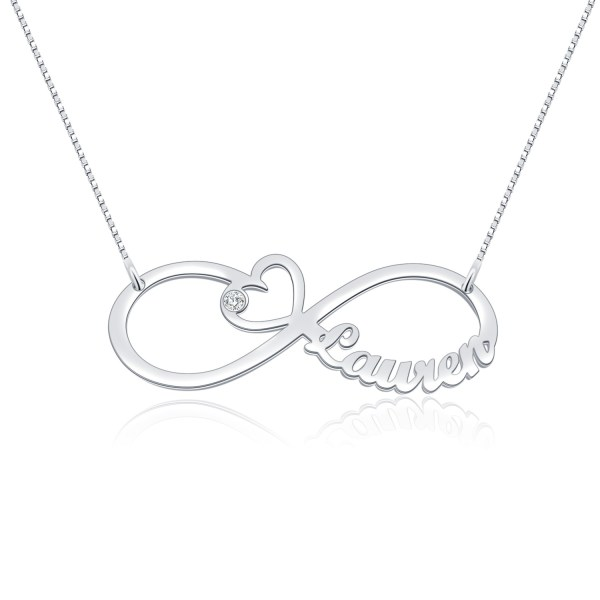 heart infinity name necklace platinum plated