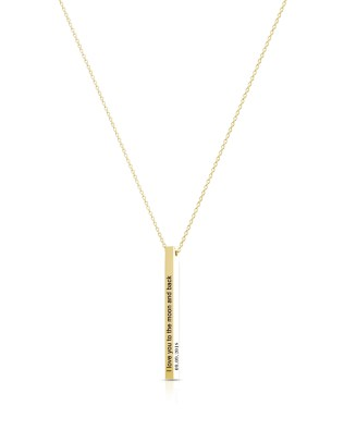 Vertical Long Bar Name Necklace Gold Plated S925