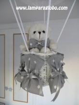 lampara globo bebe gris con estrellitas