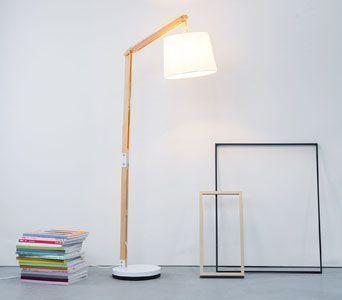 Moderna Lámpara de pie de madera con tela