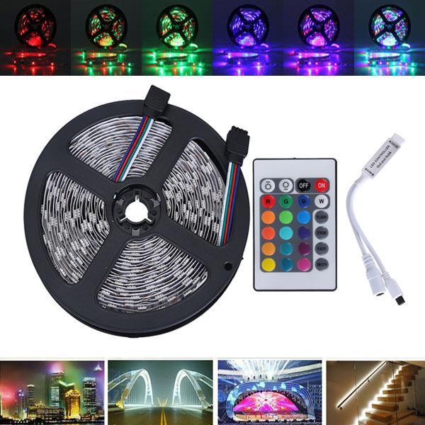 5M SMD2835 Waterdichte 300 LED RGB Flexibele Strip Light + Mini 24 Keys IR Afstandsbediening DC12V