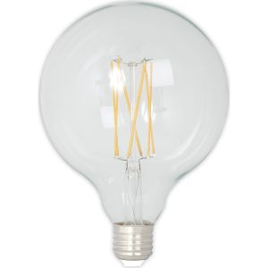 Calex LED Full Glass LongFilament Globe Lamp 240V 4W 350lm E27 GLB125, Clear 2300K Dimmable, energy label A+
