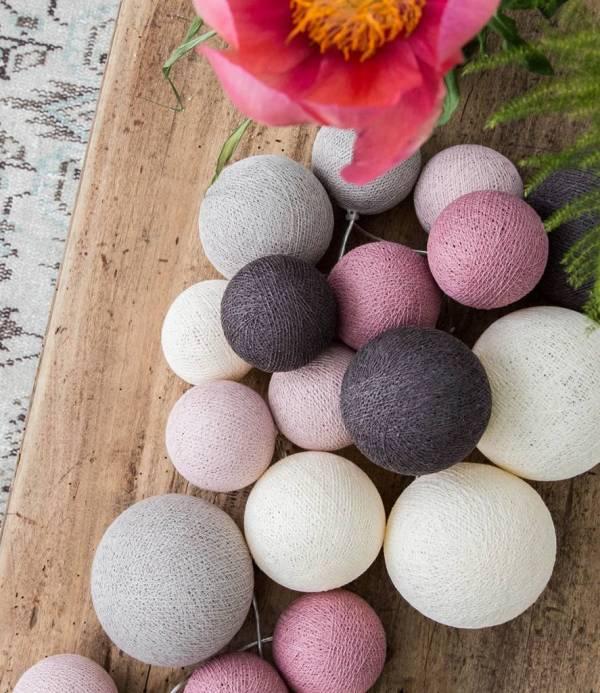 Cotton Ball Lights Premium lichtslinger roze - Velvet Pinks