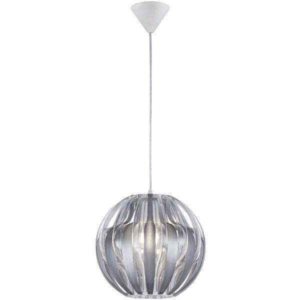 LED Hanglamp - Hangverlichting - Trion Pumon XL - E27 Fitting - Rond - Mat Zilver - Kunststof
