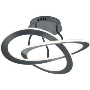 LED Plafondlamp - Plafondverlichting - Trion Oaky - 40W - Warm Wit 3000K - Rond - Mat Zwart - Aluminium