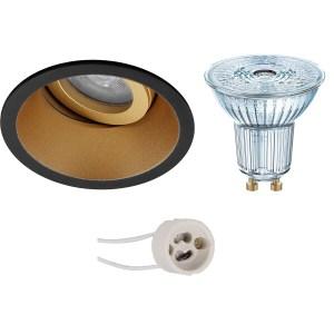 OSRAM - LED Spot Set - Parathom PAR16 940 36D - Pragmi Zano Pro - GU10 Fitting - Dimbaar - Inbouw Rond - Mat Zwart/Goud - 3.7W - Natuurlijk Wit 4000K - Kantelbaar - Ø93mm