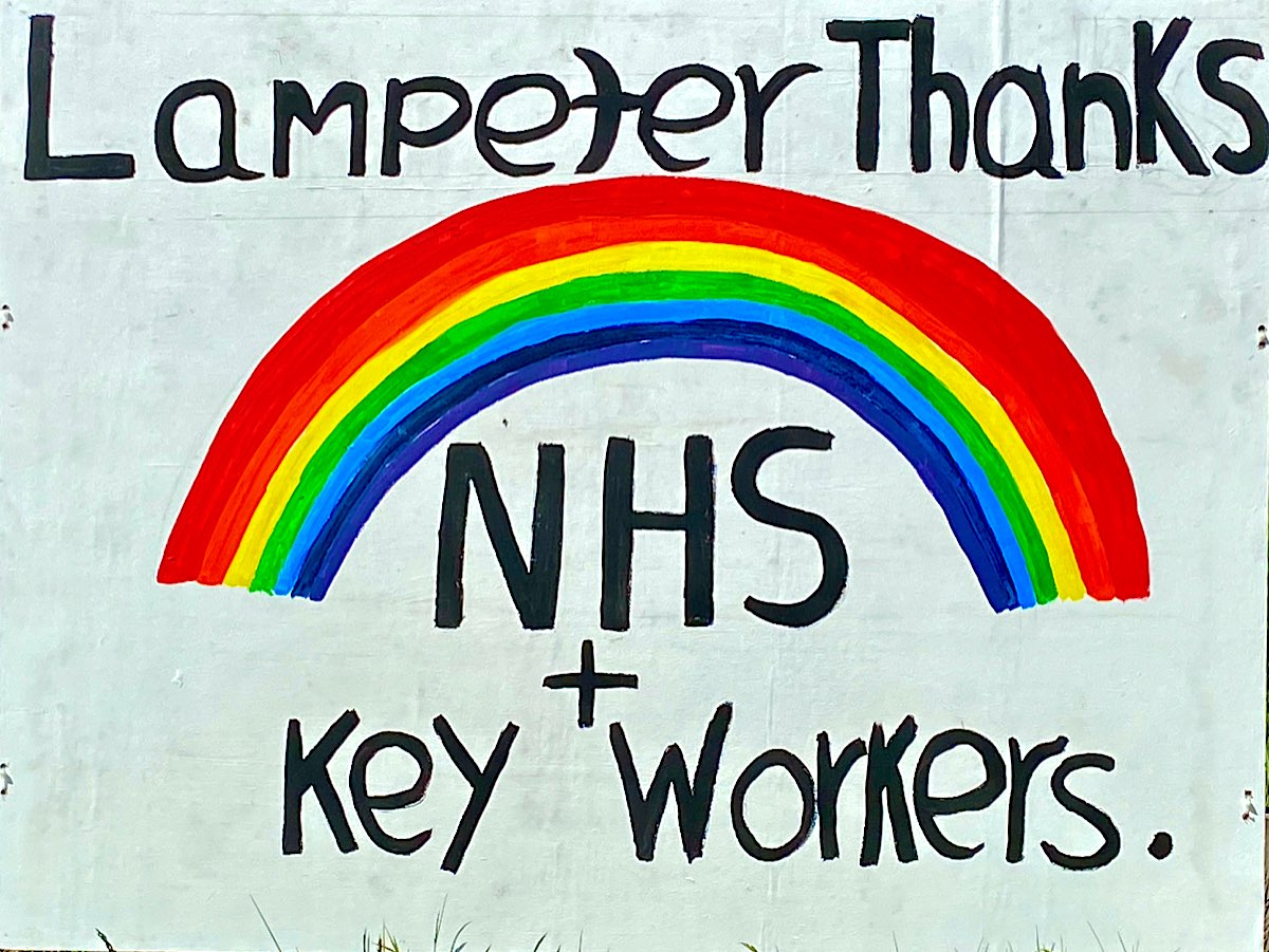 This is a great banner image with the words Lampeter Thanks above the rainbow, then NHS + Key Workers below it. The rainbow is accurately coloured and very bright.