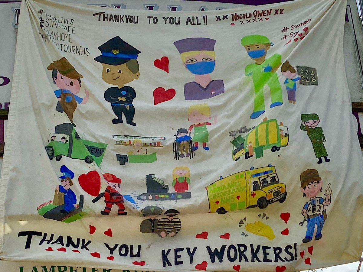 An amazing banner with images of lots of different key workers and at the top it says 'Thank You to all xx Nichola Owen' and at the bottom the words 'THANK YOU KEY WORKERS' with lots of red hearts