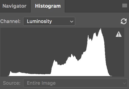 Un histogramme avec beaucoup de tons clairs.