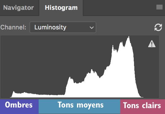 la distribution des tons dans un histogramme