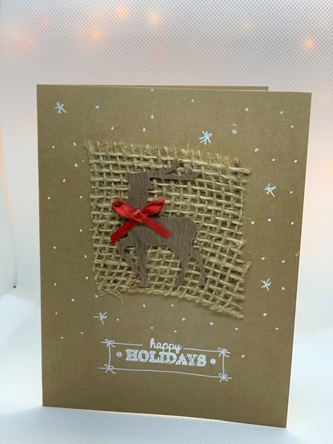 Handcrafted Christmas Greeting Cards natural wood embellishments