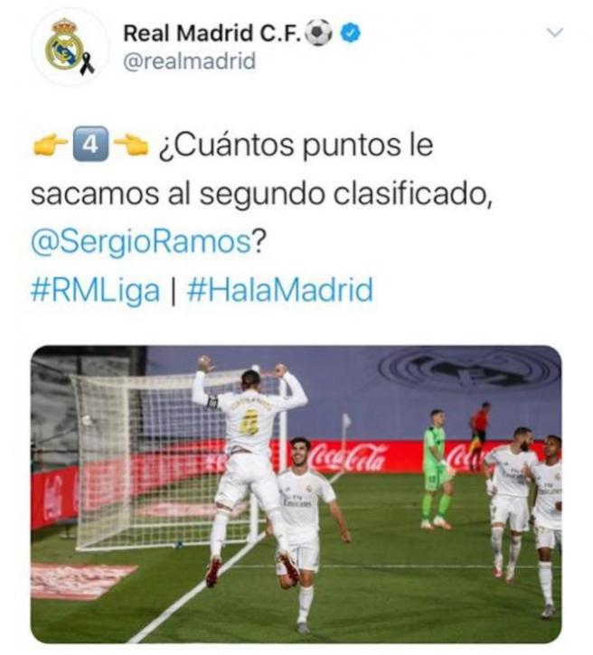 El troleo del Madrid al Barça que luego borró.Twitter