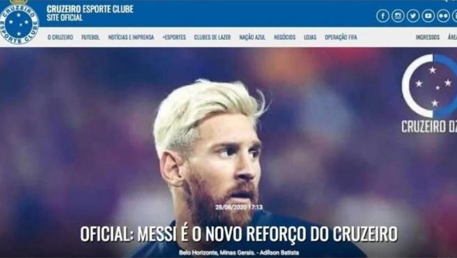 El Cruzeiro anuncia el fichaje de Leo Messi en su página web