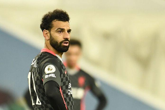 Salah, durante el partido entre el Aston Villa y el Liverpool.