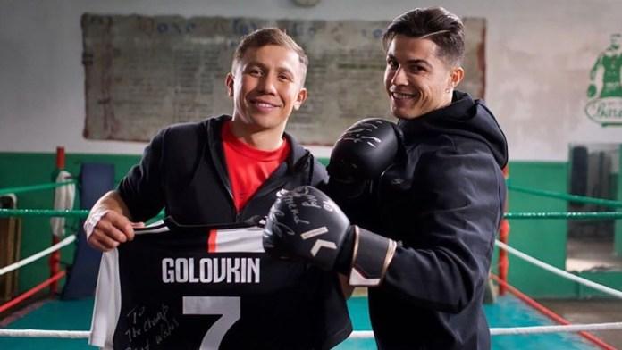 Cristiano Ronaldo se pone los guantes y sube al 'ring' con Guennadi Golovkin