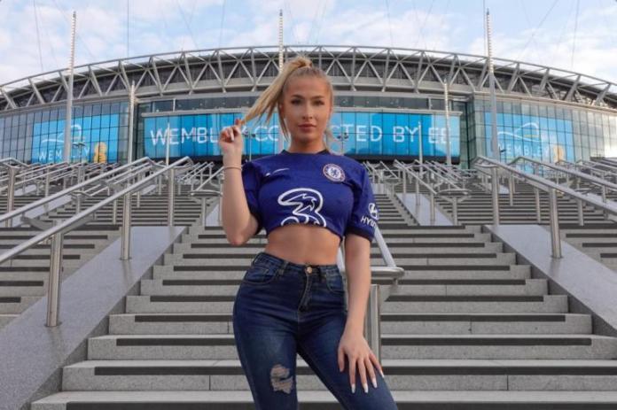 Astrid Wett actriz porno hincha del Chelsea que estará en la final de la Champions