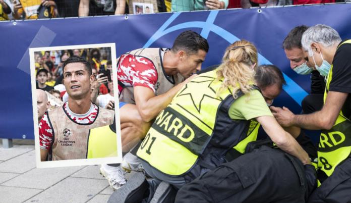 Cristiano Ronaldo noqueó a una guardia de seguridad y se disculpó con un gran gesto