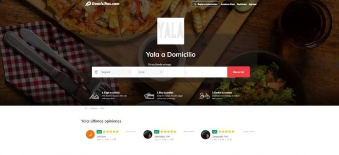 Imagen de la plataforma de reparto de comida domicilios.com