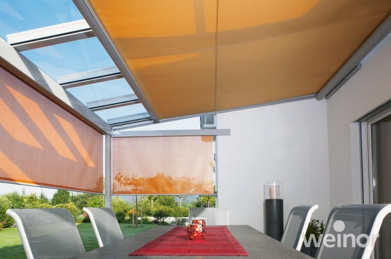 roof blinds awnings for use with