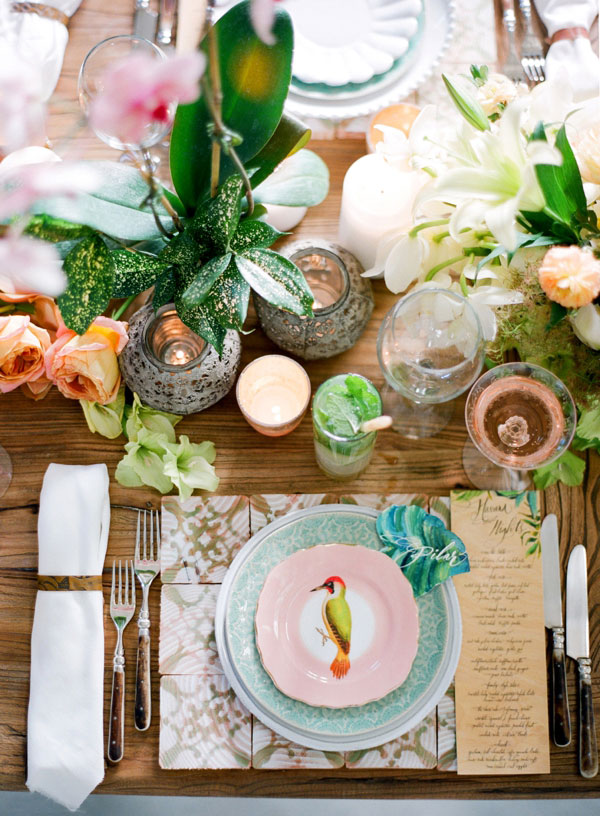 Jose Villa-Tropical wedding table setting