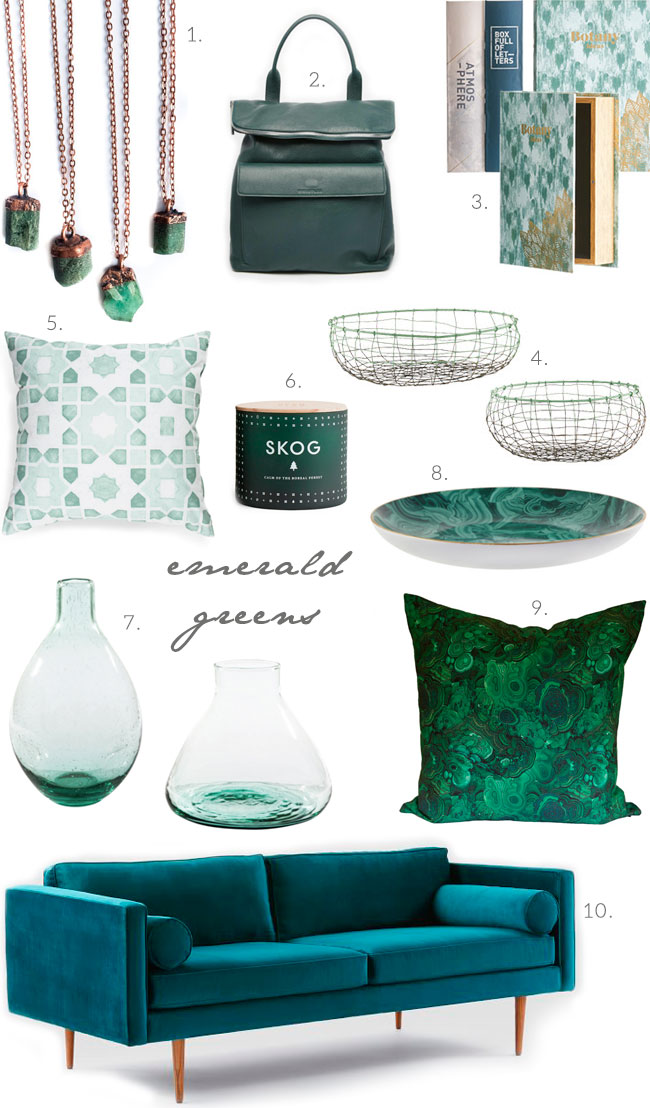Get the look: emerald greens