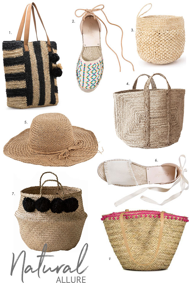 Natural raffia accessories