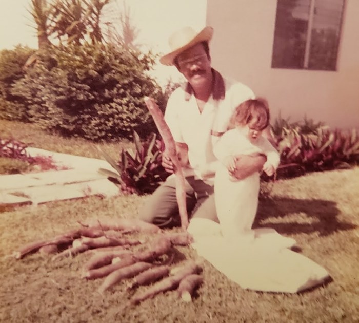 My grandfather and I posing with Yucca. What? Don't you have family photos with vegetables?
