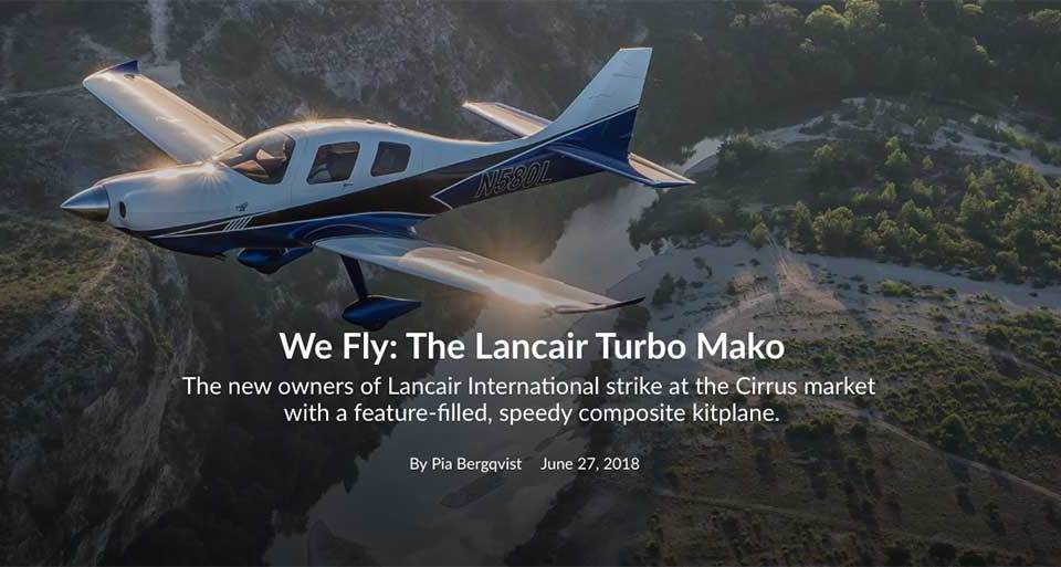 Cover of FLYING magazine with Lancair Mako in air