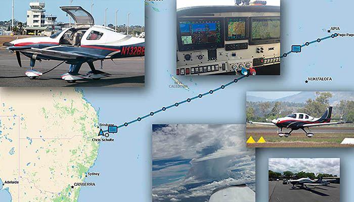 map of Australia with photos of Lancair Super ES